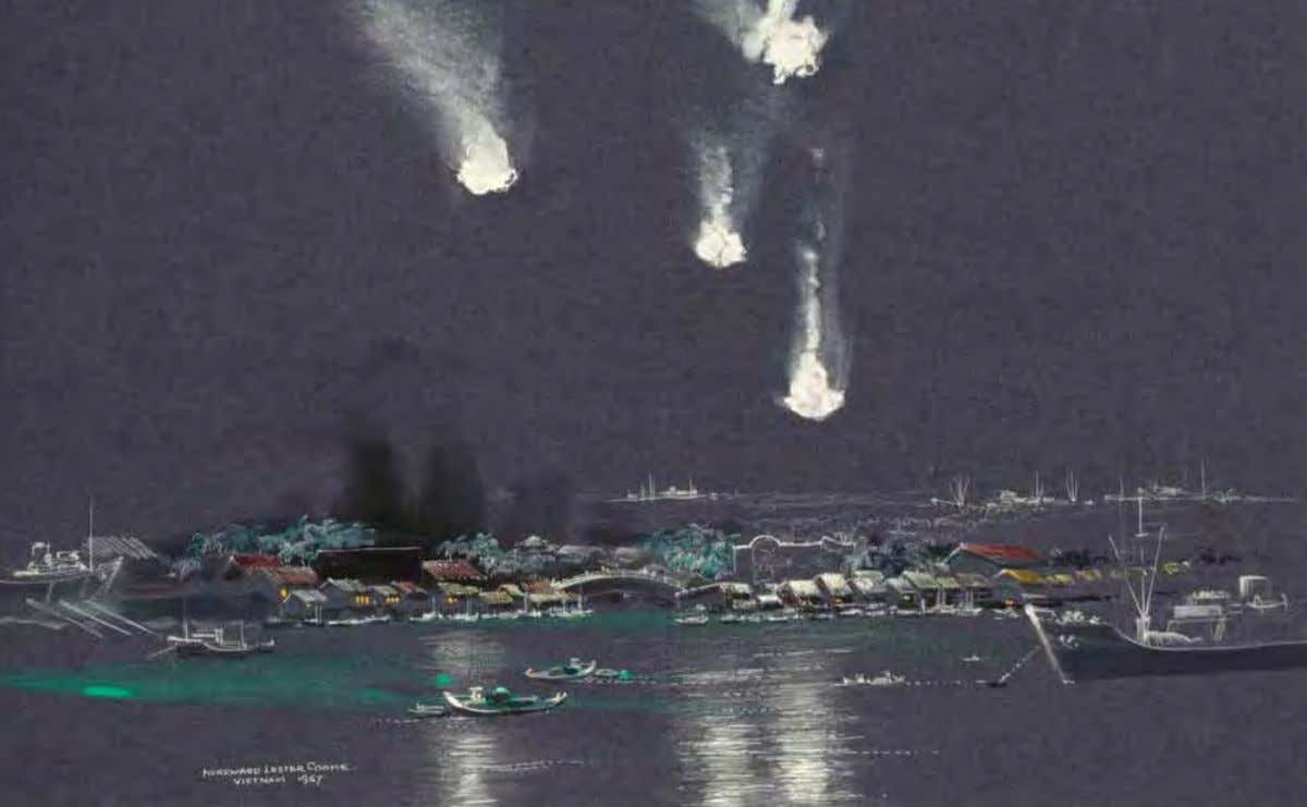 Flares over Saigon River by H. lester Cooke Vietnam, August 1967 Watercolor on paper 112
