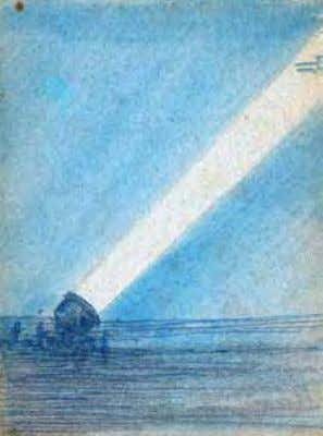 and the development of night equipment such as searchlights. Sketch by Charles Baskerville ca. 1919 Pencil