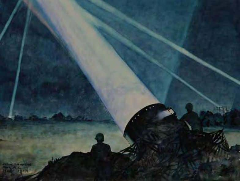 Coning Searchlights by John lavalle Italy, 1944 Watercolor on paper This piece is very similar