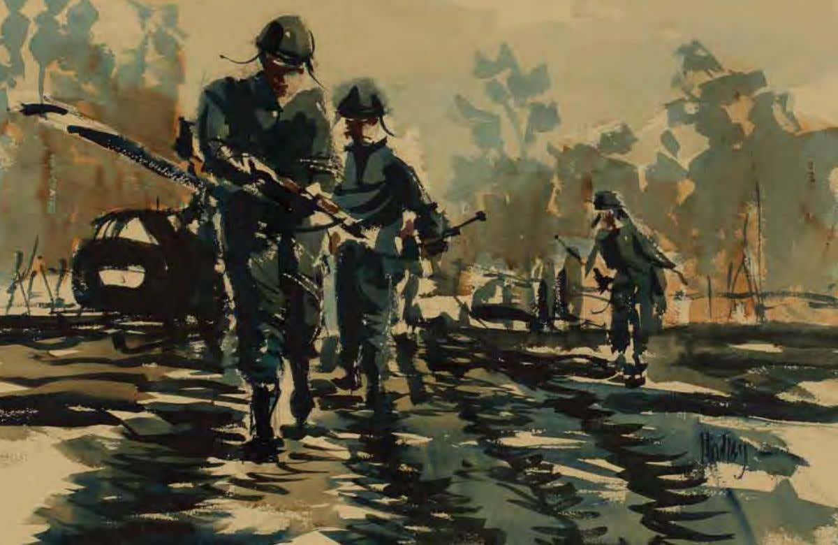 Running Blues by Joseph S. Hindley Fulda, Germany, november 1972 Watercolor on paper This painting