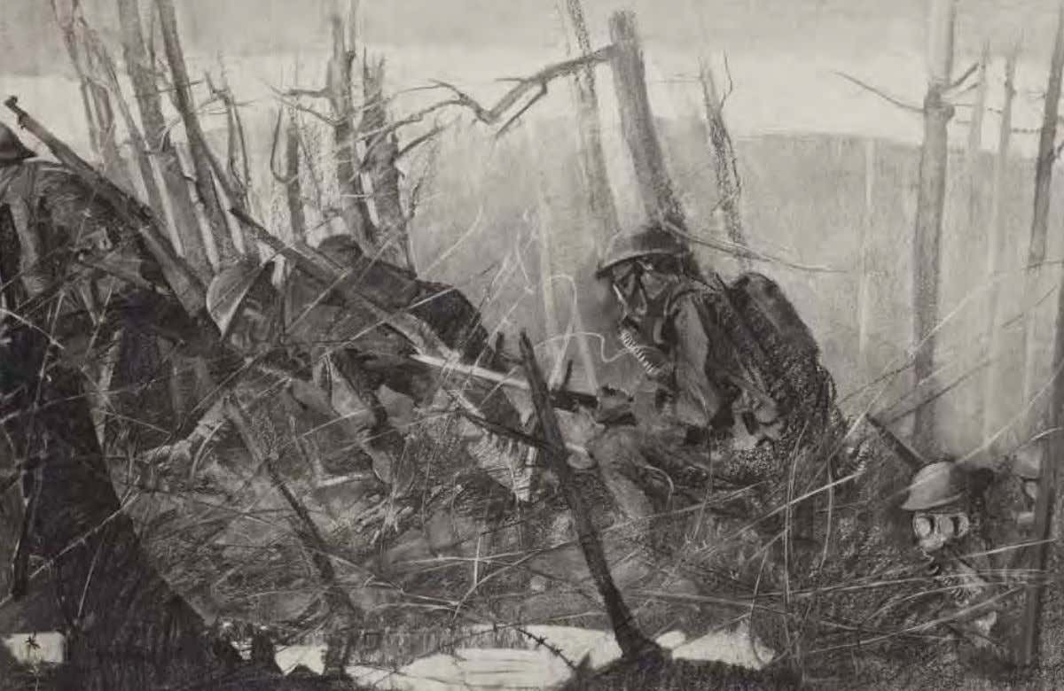 Going thru Gas by George Harding ca. 1918 Charcoal on paper Chemical warfare in the