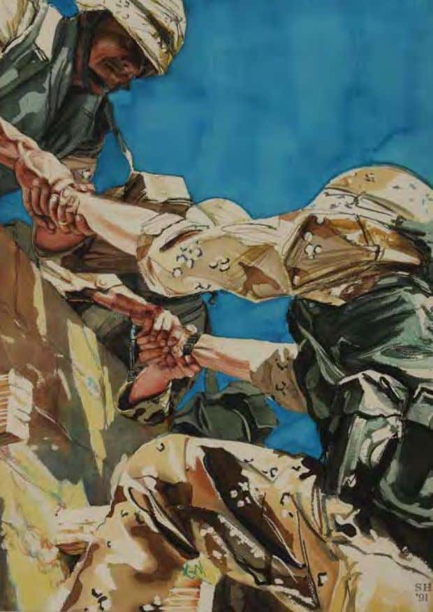 Training Together (Scaling a Wall) by Sieger Hartgers Saudi Arabia, 1991 Watercolor on paper Soldiers