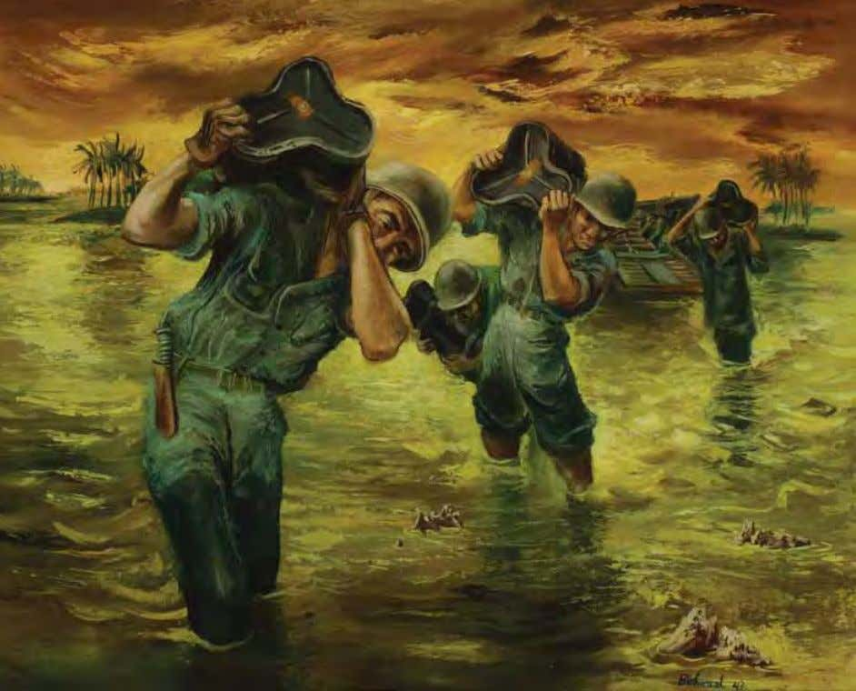 Bringing in the Ammo by Aaron Bohrod rendova Island, South Pacific, 1943 Oil on masonite