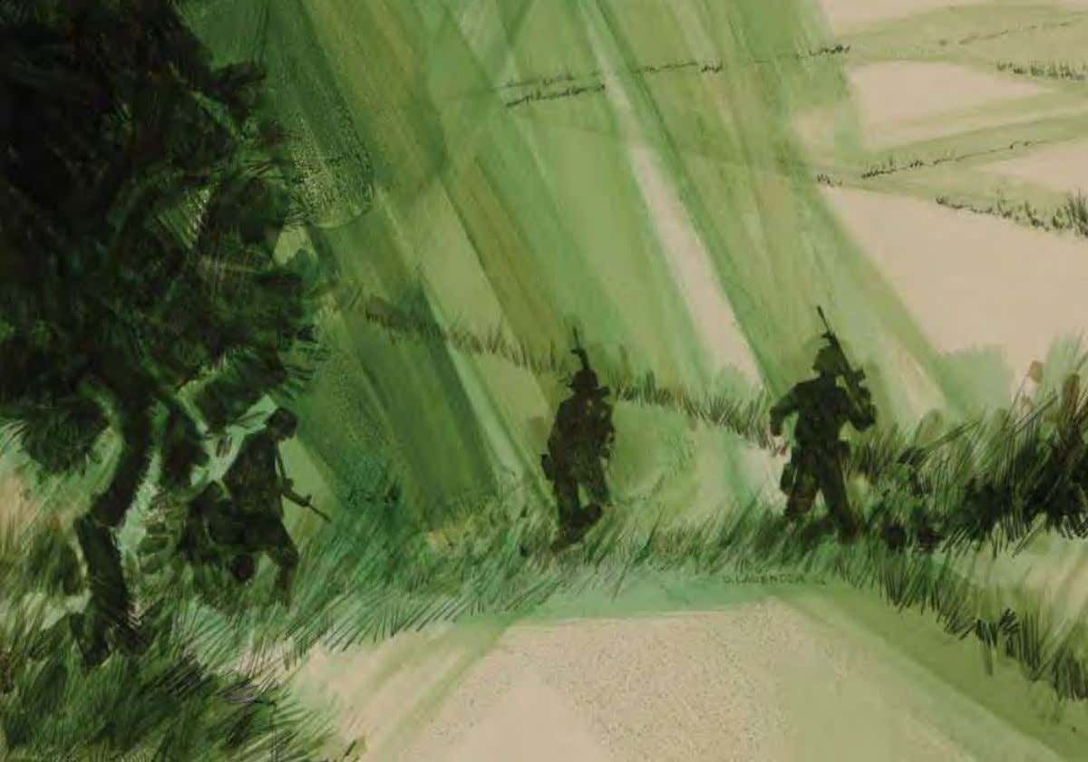 Always the Rice Paddies by David m. lavender Vietnam, 1966 Acrylic on illustration board The