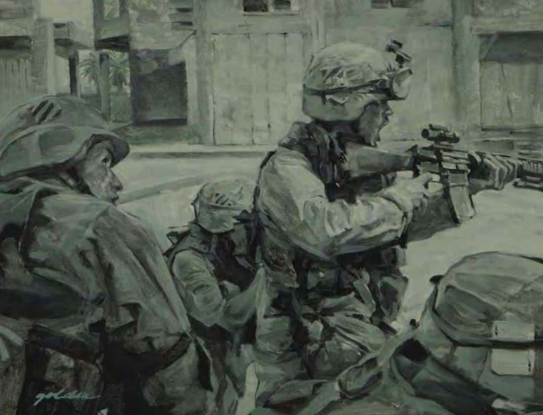 Street Fight by Elzie Golden An najaf, Iraq, 2003 Oil on canvas Depicting soldiers of