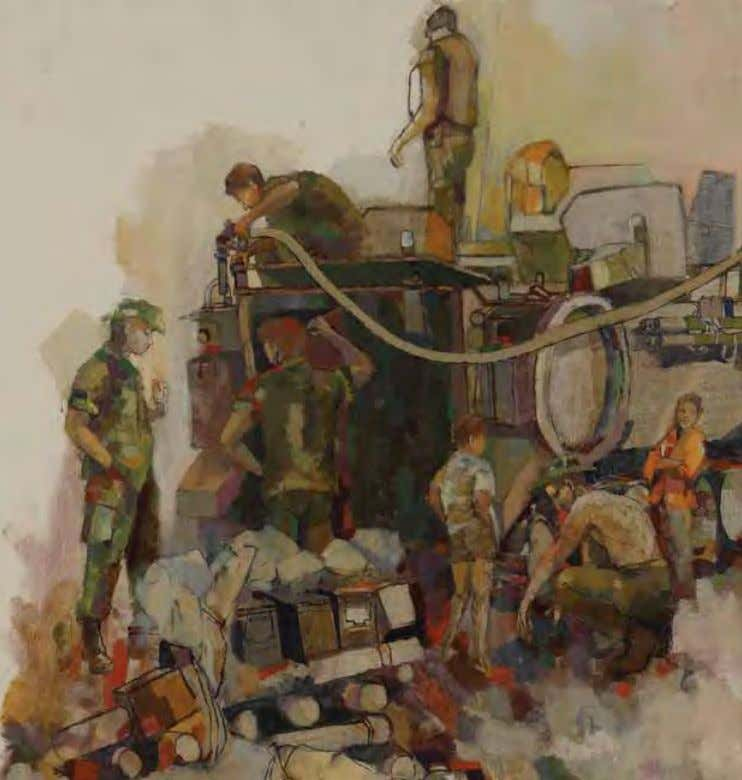 Refueling by Warren W. Buchanan Cu Chi, Vietnam, 1967 Oil on canvas Soldiers of the