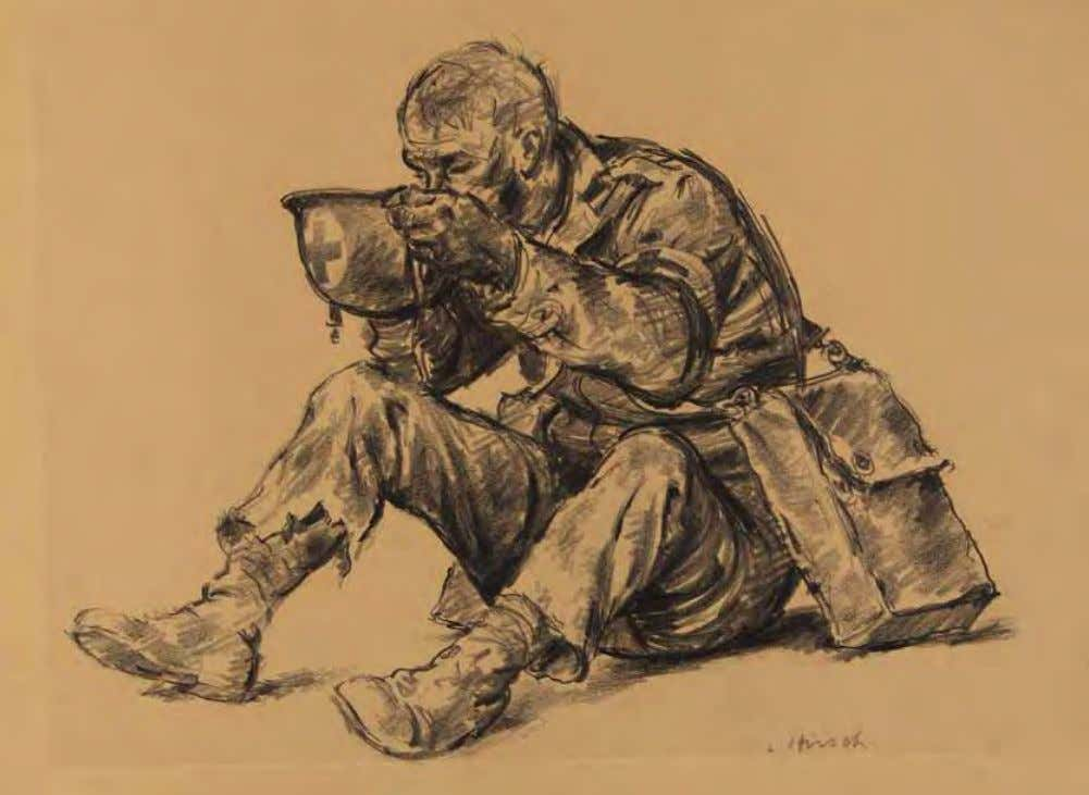 So What by Joseph Hirsch Italy, 1944 Crayon on paper The armband with cross identifies