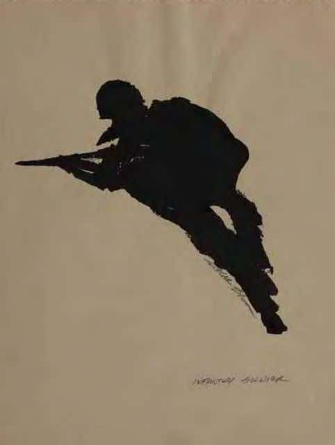 Infantry Soldier by roger Blum Vietnam, 1966 Ink on paper Grenade Thrower by roger Blum