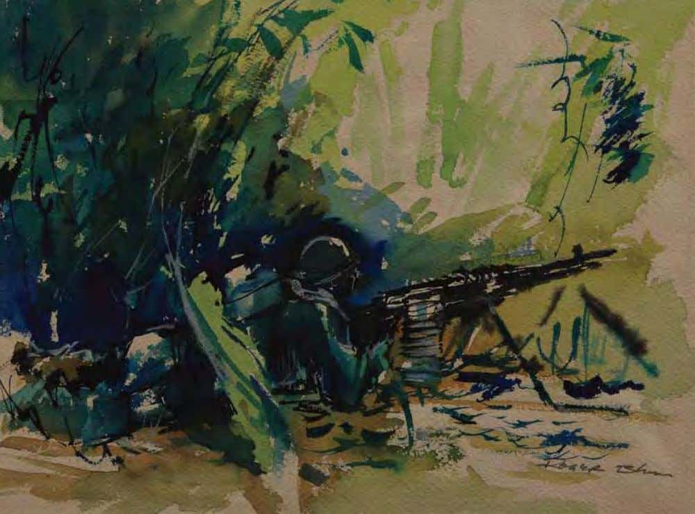 Machine Gunner in Late Afternoon by roger Blum Vietnam, 1966 Watercolor on paper In THE