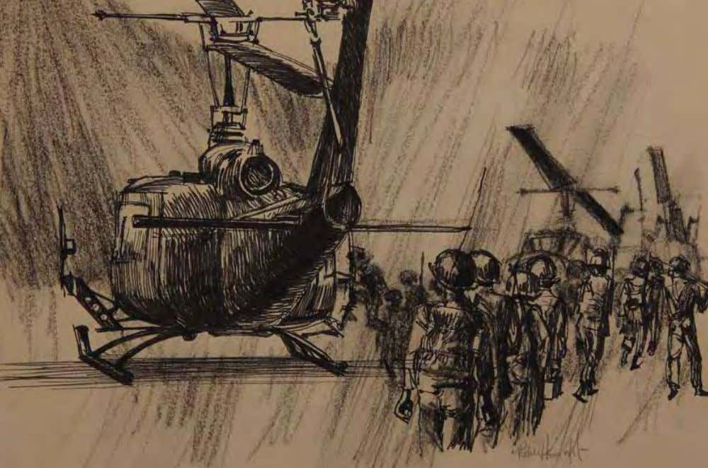 Vietnamese Soldiers Board Helicopters by robert Knight Vietnam, 1966 Pencil/conte crayon on paper In THE