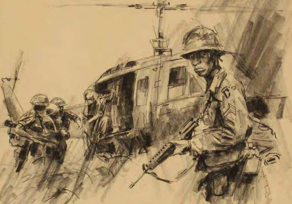 Helicopter Pickup by Paul rickert Vietnam, 1966 Pencil on paper The 101st Airborne Division soldiers