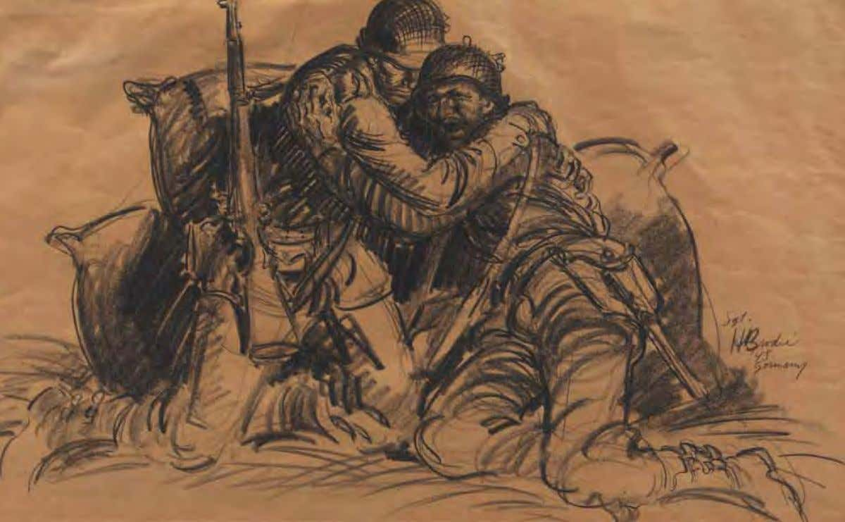 Under Fire by Howard Brodie Germany, 1945 Pencil on paper The 102d Infantry Division soldiers