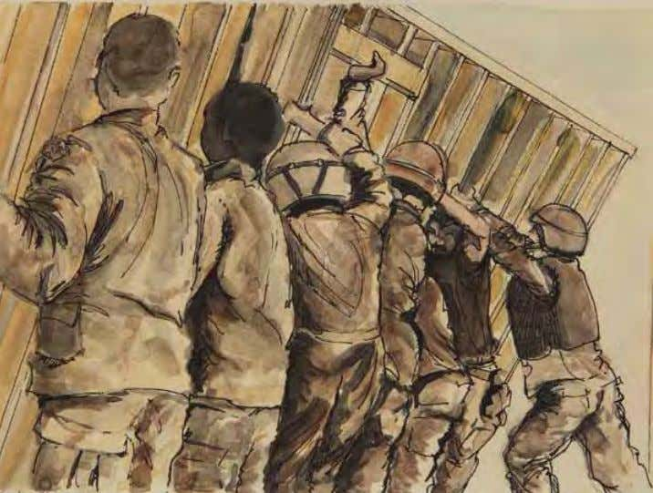 Voodoo Shack Erection by Heather C. Englehart Iraq, June 2004 Ink/watercolor on paper In THE