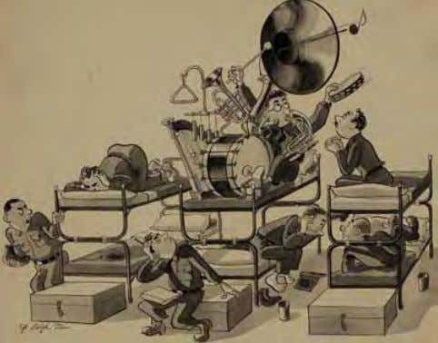 Ralph Stein, World War II One-Man Band ca. 1942 Ink/wash on illustration board the barracks musician