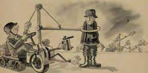 will remember the importance of keeping machines well oiled. German Capturing Device ca. 1942 Ink/wash on