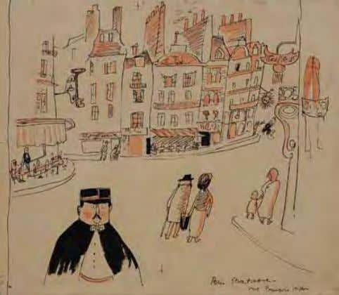 You Will Probably Get a Rousing Welcome from the French 1944 Ink/watercolor on paper Paris Street