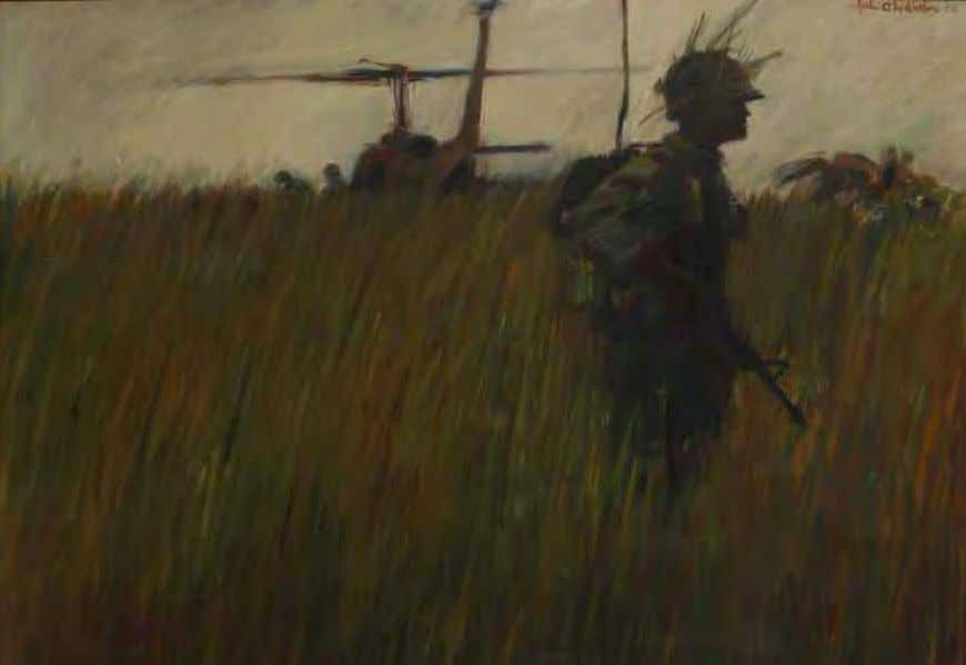 Landing Zone by John O. Wehrle 8 November 1966 Oil on canvas A radio telephone