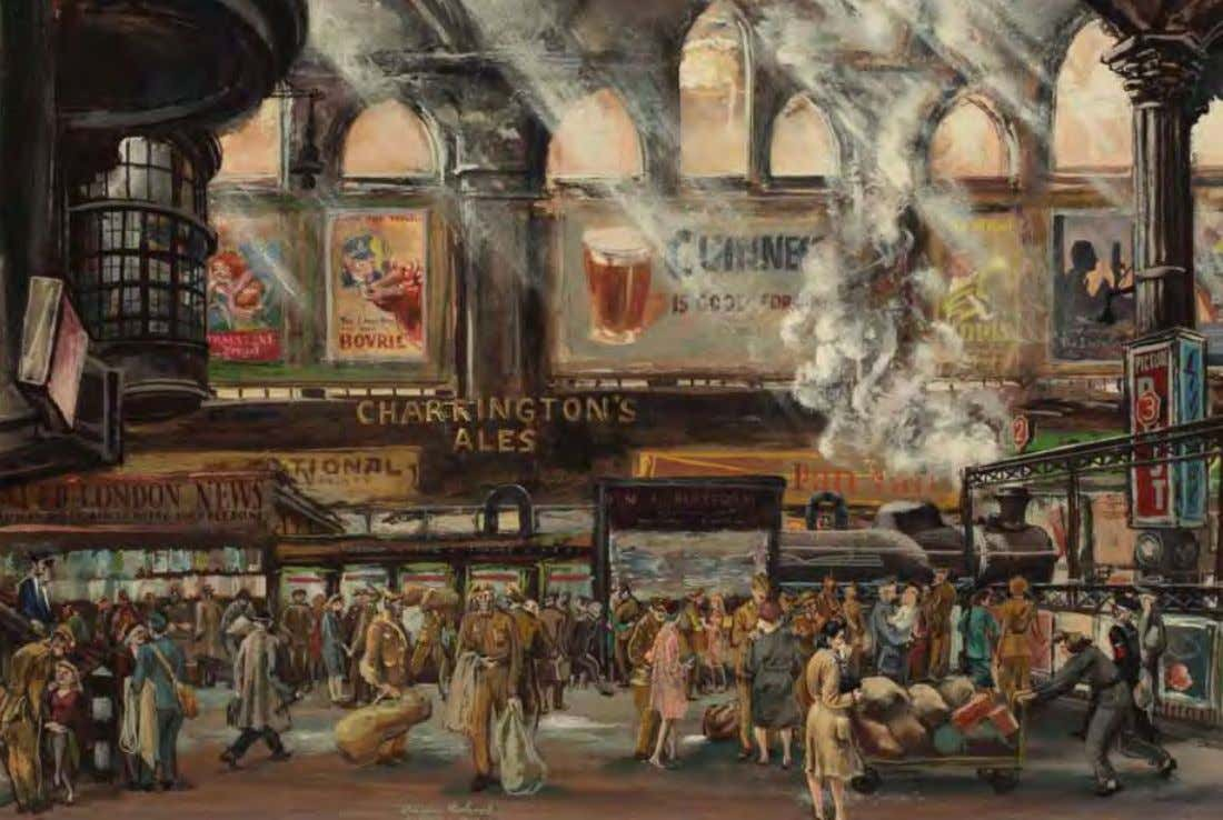 Paddington Station by Aaron Bohrod United Kingdom, 1944 Gouache on paper Paddington station, at the