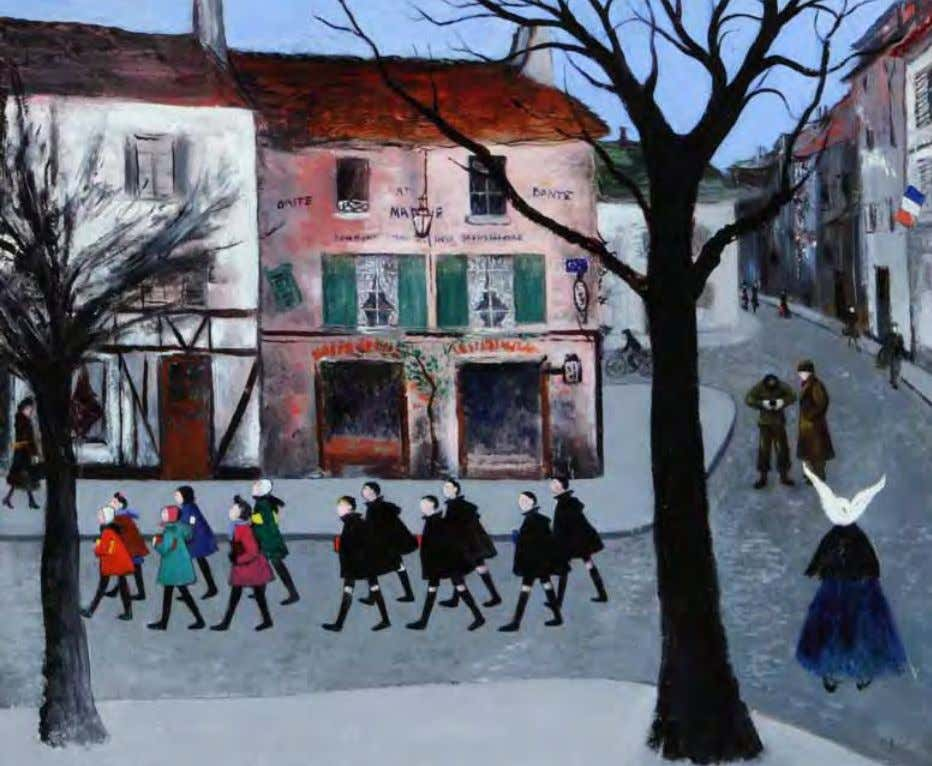 School Children by Gladys Rockmore Davis 1944 Oil on canvas An American soldier snaps a