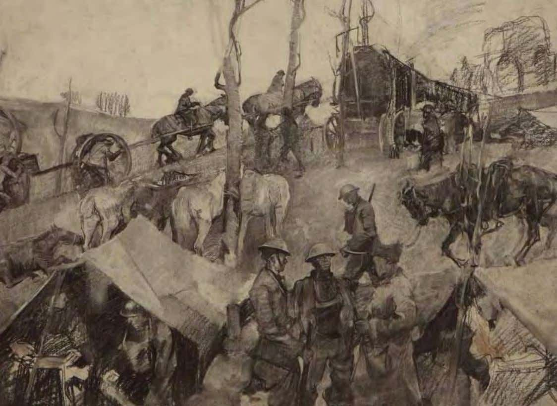 Army Camp by George Harding ca. 1917 Charcoal on paper Mechanization was still in its