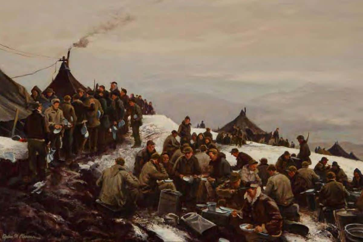 Chow Line by Ogden Pleissner Alaska, 1943 Oil on canvasboard Chow line forms outdoors on