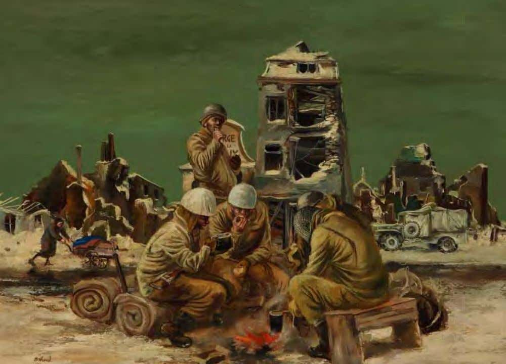 K Rations by Aaron Bohrod Belgium, 1945 Oil on canvas In Bastogne, African American soldiers