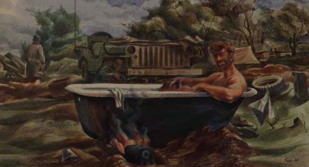 Soldier Bathing by Edward Reep Italy, 1944 Watercolor/gouache on paper Soldiers showed their inventiveness by