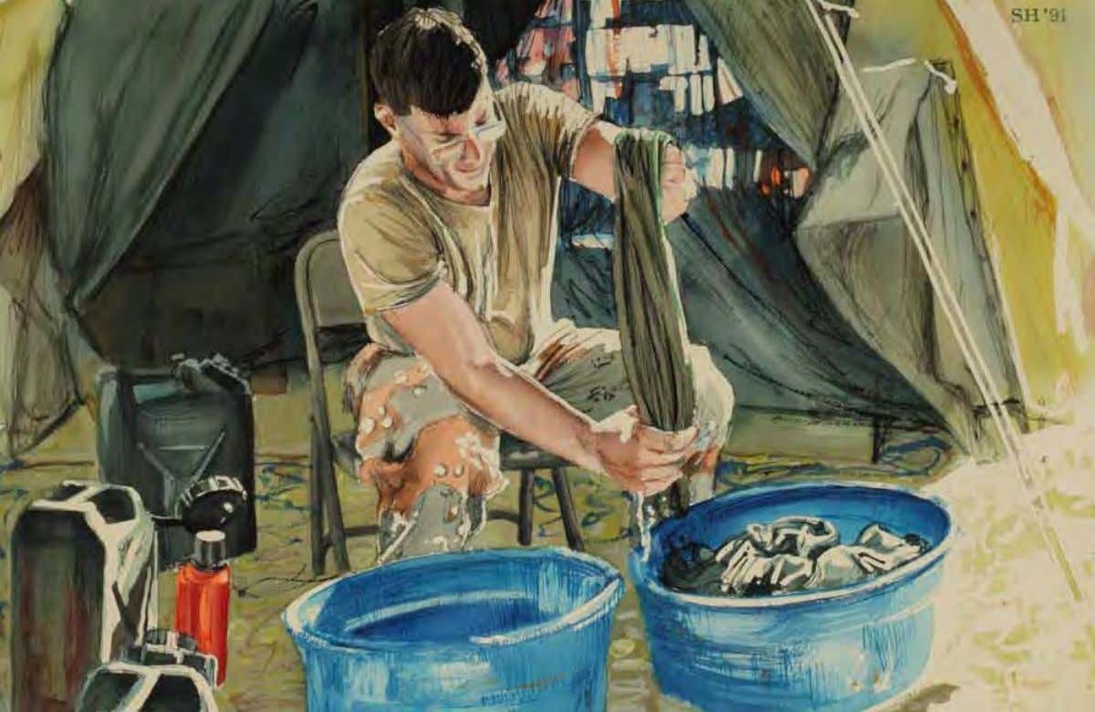 Soldier Doing the Laundry by Sieger Hartgers Saudi Arabia, January 1991 Watercolor on paper Artist's