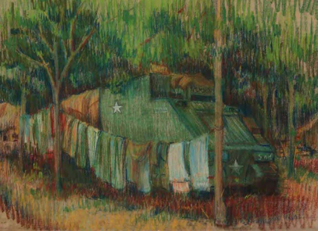 Laundry Day by Theodore J. Abraham vietnam, July 1967 Pastel on paper A clothesline strung