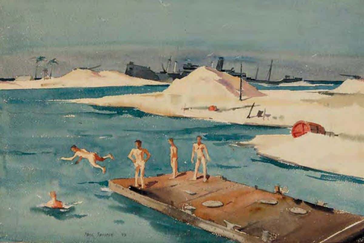 Beach Club by Paul Sample 1943 Watercolor on paper Army men on Canton [Island in