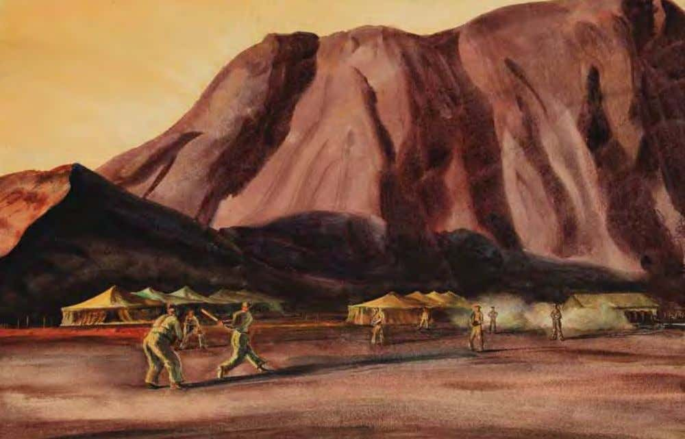Baseball Practice by Peter Hurd Ascension Island, 1944 Watercolor on paper Ascension Island is a