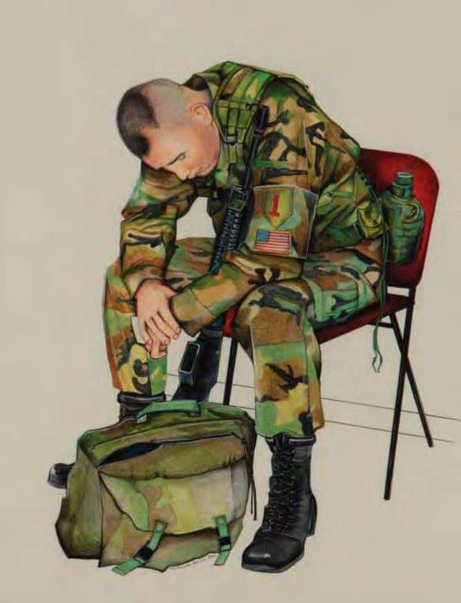 of the 1st Infantry Division out of vilseck, Germany, waits his turn to make a phone
