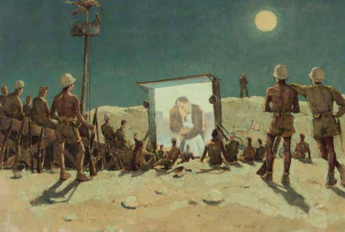 Movies by Paul Sample Canton Island, 1943 Oil on canvas Outdoor movie theater is set