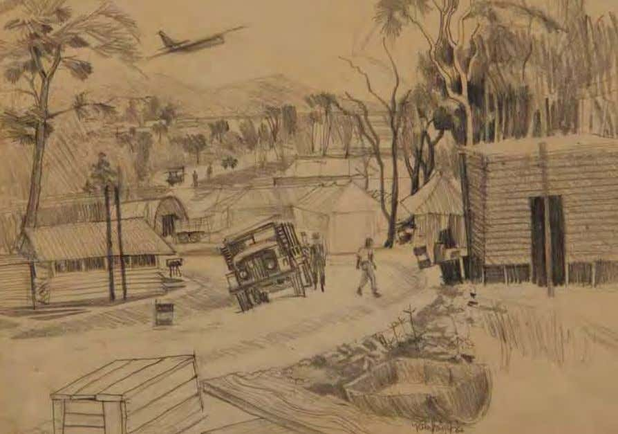 Base Camp by Robert Knight vietnam, September 1966 Pencil on paper In ThE ArTIST'S oWn