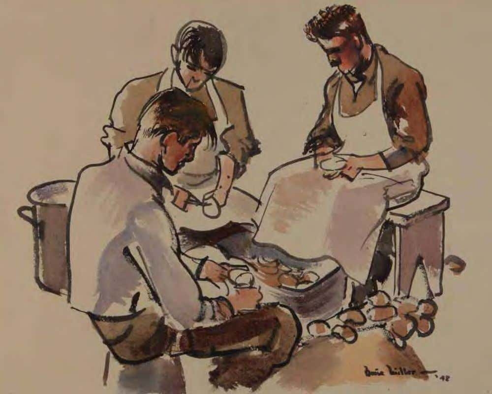 K.P. Spud Detail by Barse Miller United States, 1942 Watercolor on paper A k.P. [kitchen