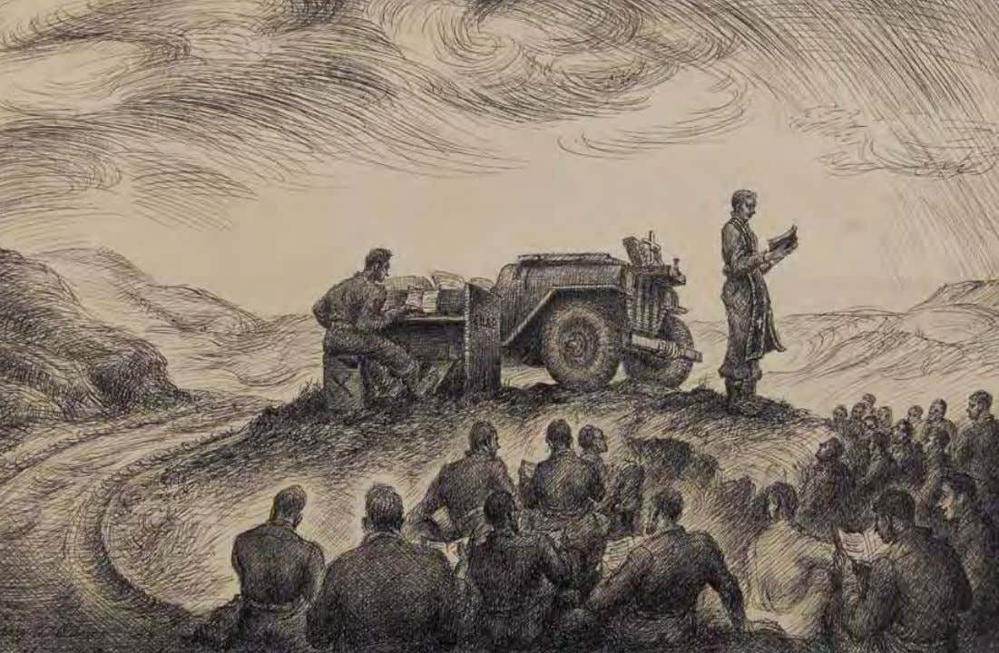 Sunday Service in the Field by Harry A. Davis Italy, 1944 Ink on paper The