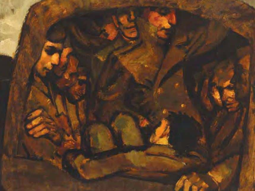 Troop Movement by Robert C. Burns Camp Blanding, Florida, 1942 Oil on board In ThE