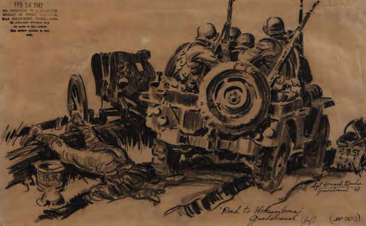On the Road to Kokumbona, During Advance by Howard Brodie Guadalcanal, 1943 Pencil on paper