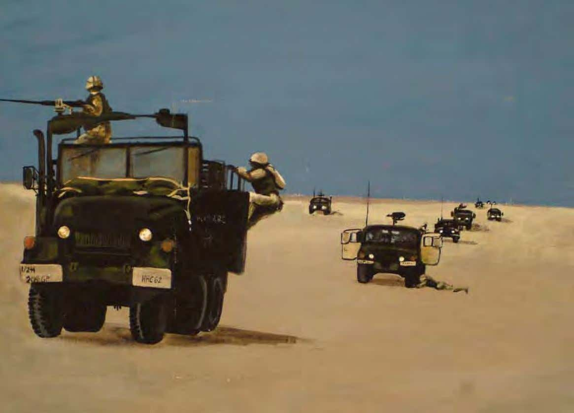 Convoy Live Fire by Heather C. Englehart Kuwait, February 2004 Acrylic on tent canvas Painted