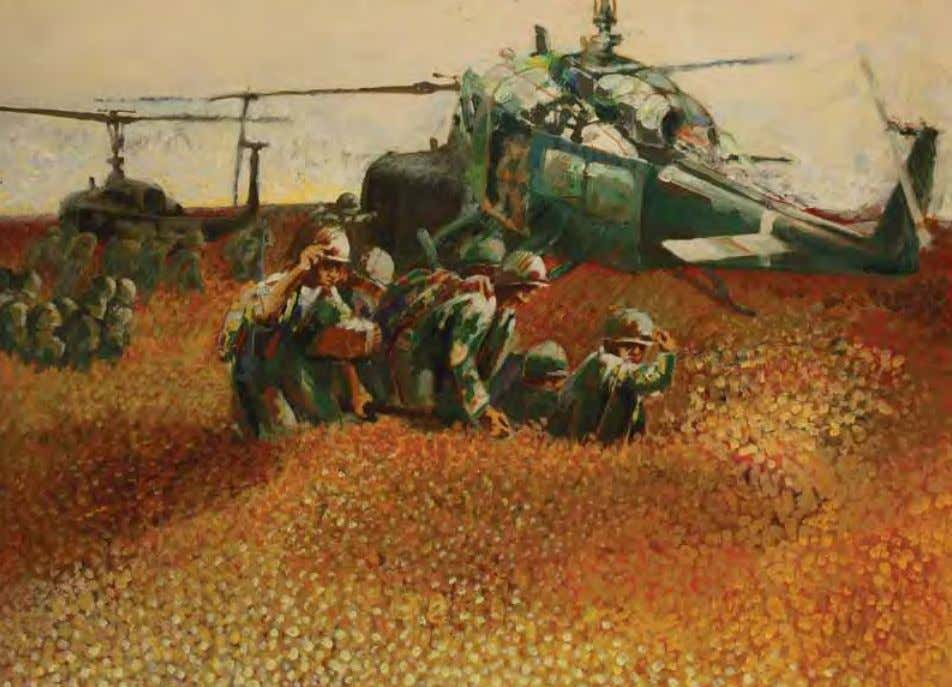 Chopper Pick-up by Brian H. Clark vietnam, 1968 Acrylic on canvas Two helicopters hover and