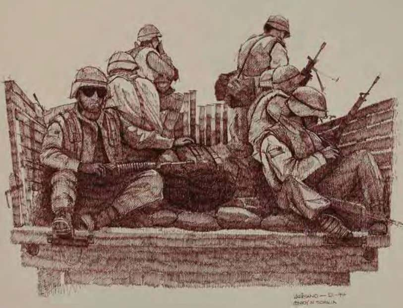 Convoy in Somalia by Peter G. varisano Somalia, December 1994 Ink on paper In ThE