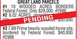 GREAT LAND PARCELS #1 10 WOODED ACRES BORDERS Federal Forest. Only $28,000. #2986 #2 8.02