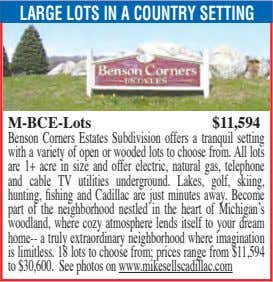LARGE LOTS IN A COUNTRY SETTING M-BCE-Lots $11,594 Benson Corners Estates Subdivision offers a tranquil