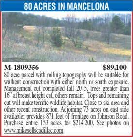 80 ACRES IN MANCELONA M-1809356 $89,100 80 acre parcel with rolling topography will be suitable