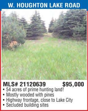 W. HOUGHTON LAKE ROAD MLS# 21120639 $95,000 • 54 acres of prime hunting land! •