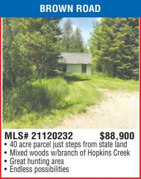 BROWN ROAD MLS# 21120232 $88,900 • 40 acre parcel just steps from state land •