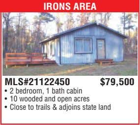 IRONS AREA MLS#21122450 $79,500 • 2 bedroom, 1 bath cabin • 10 wooded and open