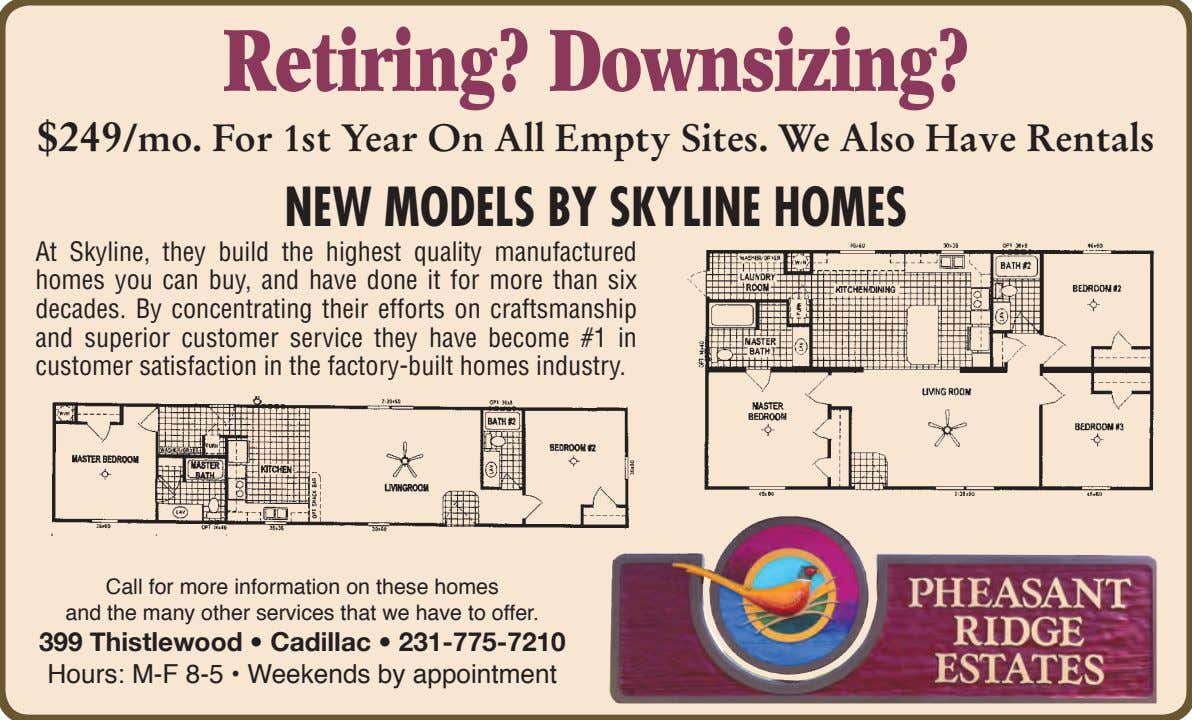 Retiring? Downsizing? $249/mo. For 1st Year On All Empty Sites. We Also Have Rentals New
