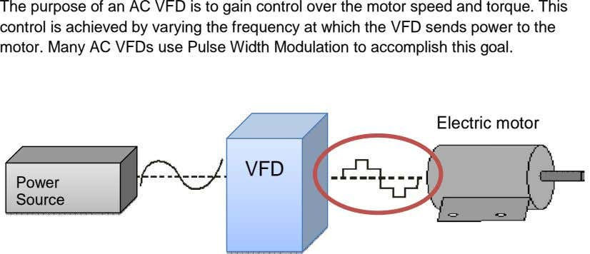 The purpose of an AC V FD is to gain control over the motor speed and