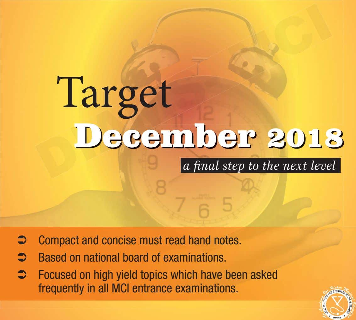 Target December 2018 a final step to the next level  Compact and concise must